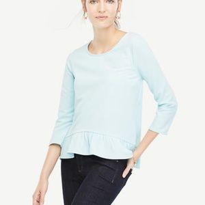 Ann Taylor Ruffle Hem Top Blouse Pale Blue Medium